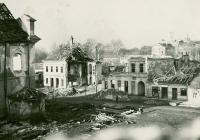 Zničená Břeclav po válečných událostech