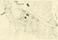 Výřez z katastrálního plánu centra Břeclavi se židovskou čtvrtí, konec 19. stol.